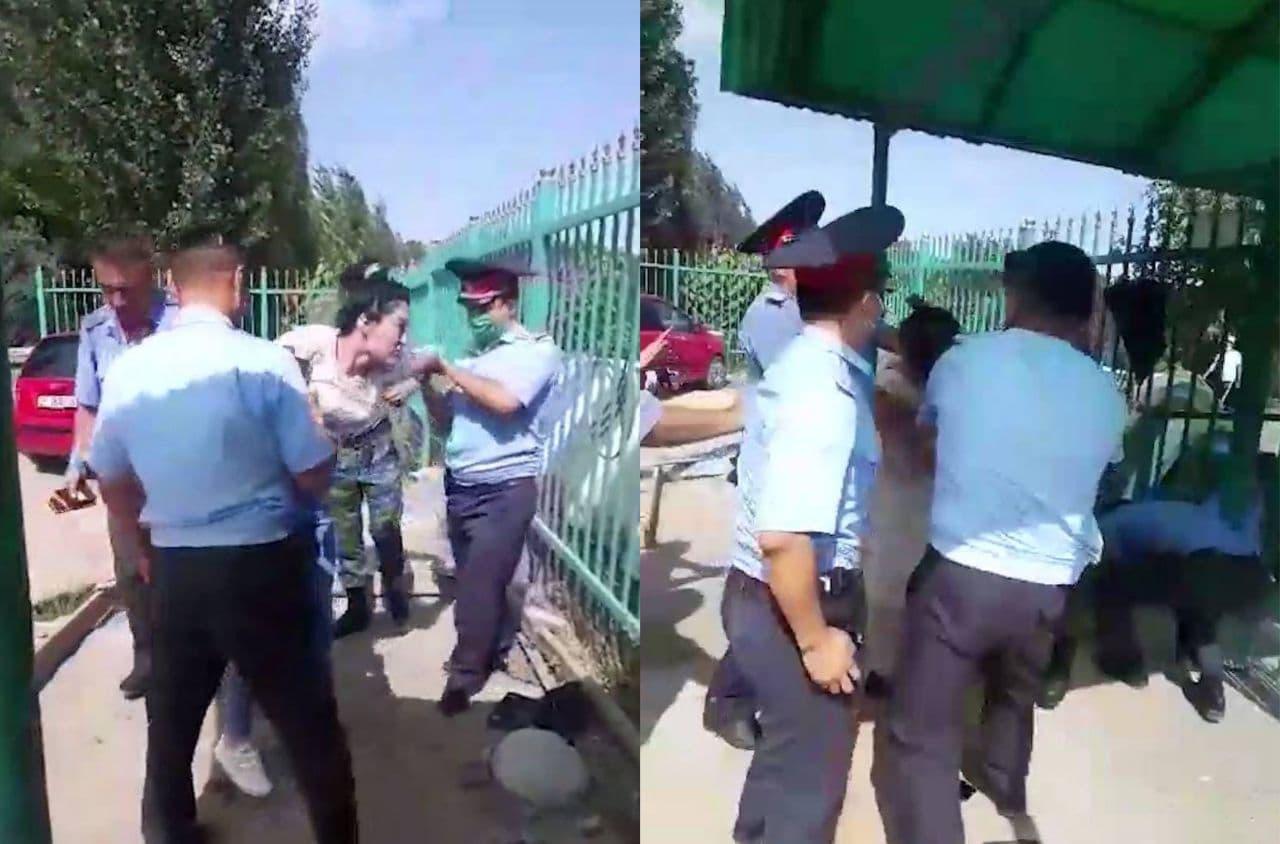 На границе Кыргызстана три узбекистанки подрались с пограничниками — видео