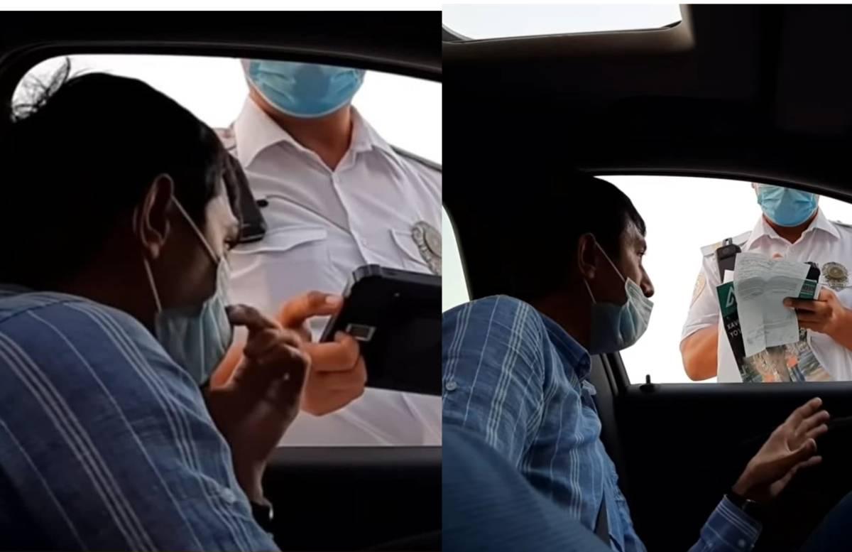 В Ферганской области поругались автоблогер и сотрудник ДПС — видео