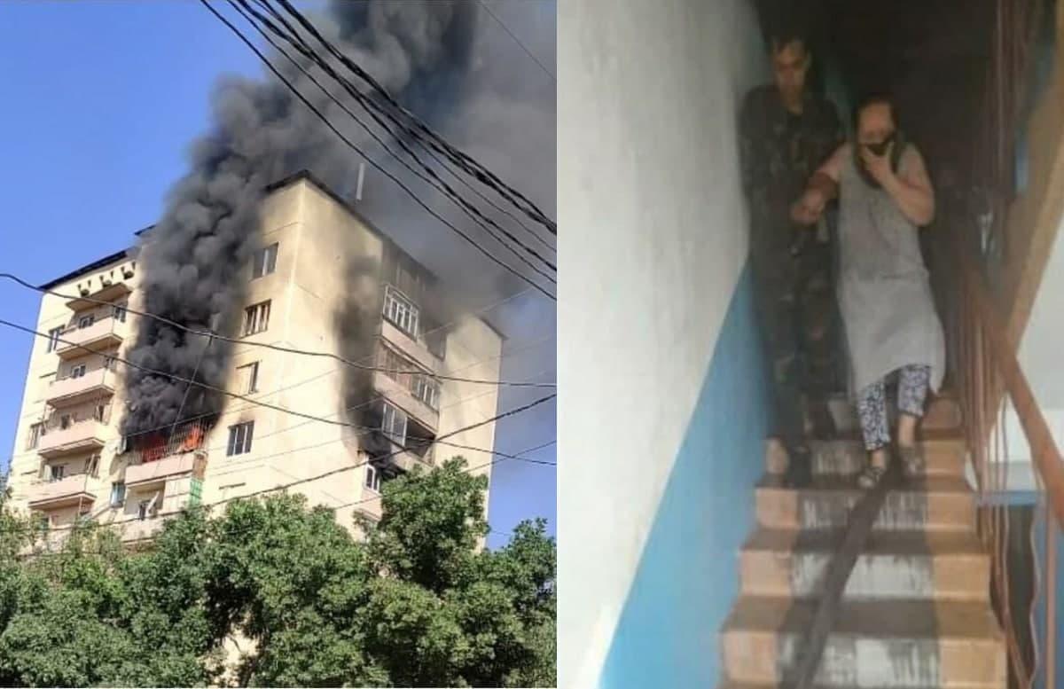 В Ташобласти загорелся многоэтажный дом — видео