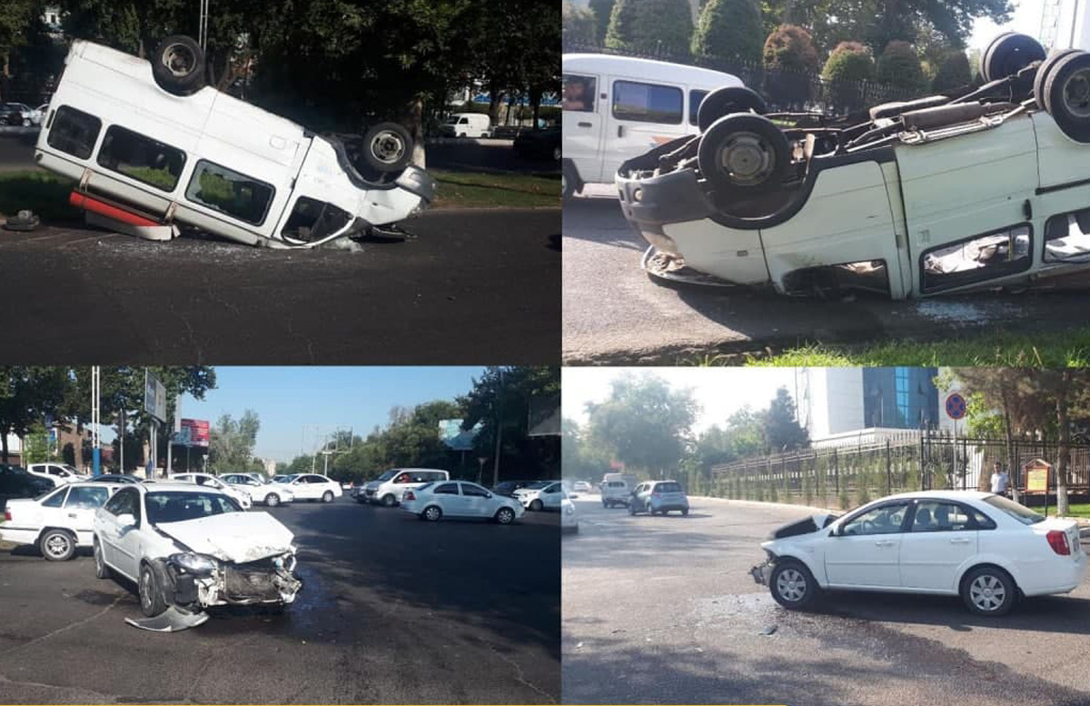 В Ташкенте перевернулась маршрутка с пассажирами — видео