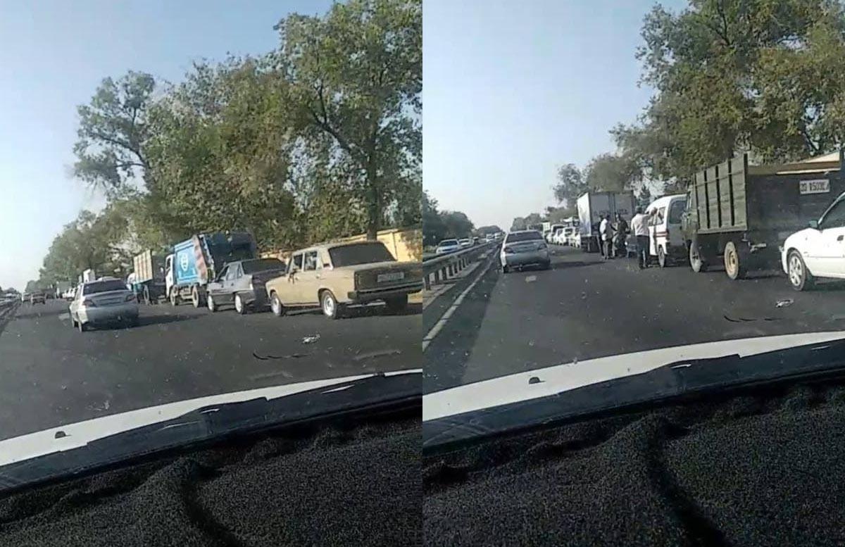 В Узбекистане образовалась огромная очередь на одной из газовых заправок — видео