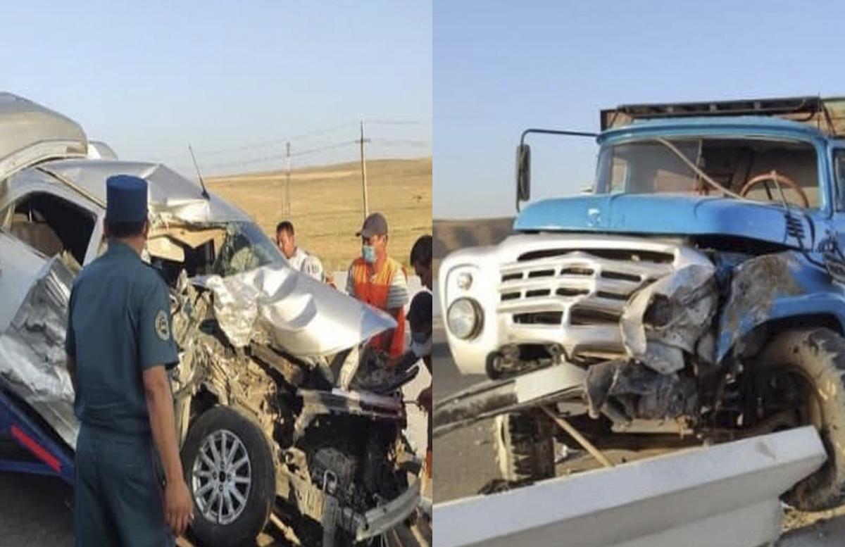 В Джизаке автомобиль Cobalt «встретился лоб в лоб» с грузовиком: есть погибшие