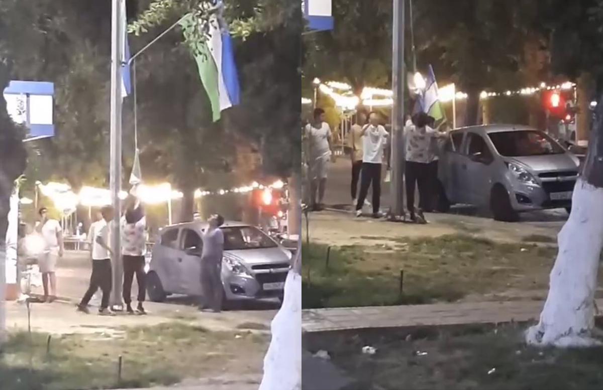 В столице Узбекистана некоторые граждане снимали госфлаги, установленные вдоль дороги — видео