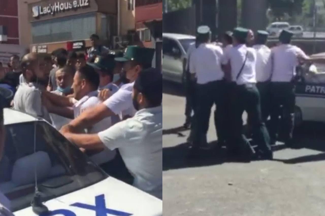 В Ташкенте мужчина набросился на правоохранителя — видео