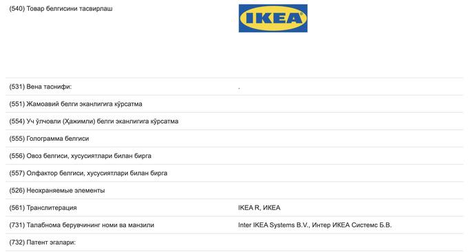 IKEA все-таки решила зарегистрировать товарный знак в Узбекистане